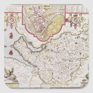 Countye Palatine of Chester, engraved by Square Sticker