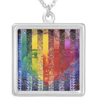 Counundrum I – Rainbow Woman Square Pendant Necklace