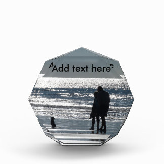 Couple and Their Dog by the Ocean - Personalizable Acrylic Award