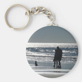 Couple and Their Dog by the Ocean - Personalizable Basic Round Button Keychain