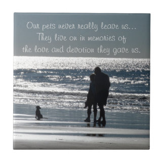 Couple and Their Dog by the Ocean - Personalizable Ceramic Tile