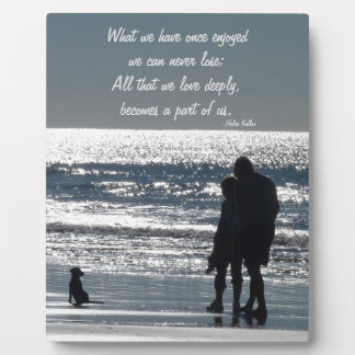 Couple and Their Dog by the Ocean - Personalizable Plaque