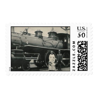 couple and train postage stamp