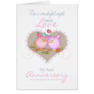 Couple Anniversary Card With Love Birds - Lesbian