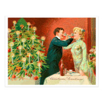 Couple are Drinking champaign at Christmas eve Postcard