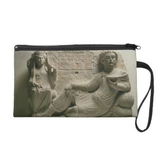 Couple at a banquet, tomb find from Palmyra, Syria Wristlet Clutches