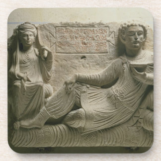 Couple at a banquet tomb find from Palmyra Syria Coasters