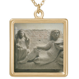 Couple at a banquet, tomb find from Palmyra, Syria Gold Plated Necklace