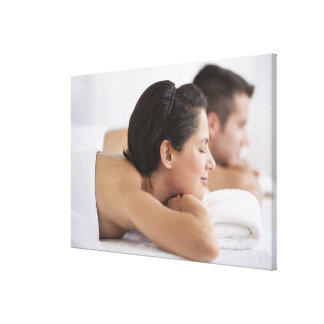 Couple at spa stretched canvas prints