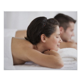 Couple at spa poster