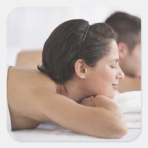 Couple at spa square sticker