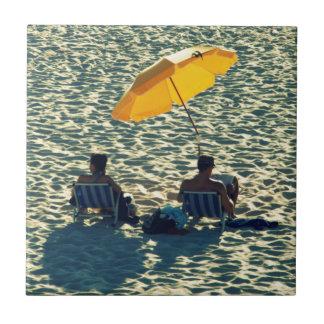 Couple at the beach ceramic tile