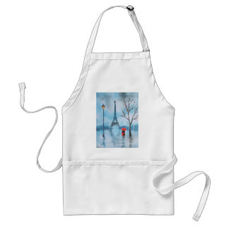 Couple at the Eiffel Tower Paris painting Adult Apron