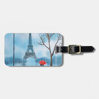 Couple at the Eiffel Tower Paris painting Bag Tag