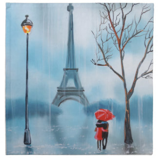 Couple at the Eiffel Tower Paris painting Cloth Napkin
