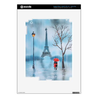 Couple at the Eiffel Tower Paris painting Decals For iPad 3