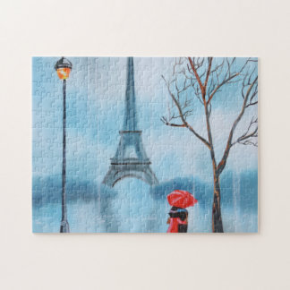 Couple at the Eiffel Tower Paris painting Jigsaw Puzzle