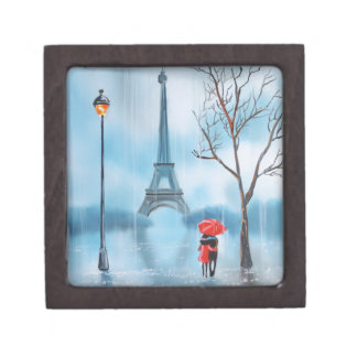 Couple at the Eiffel Tower Paris painting Keepsake Box