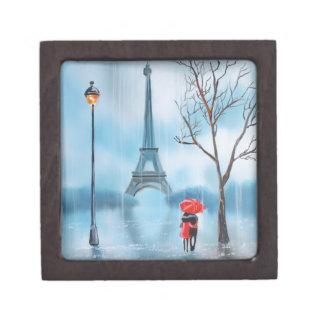 Couple at the Eiffel Tower Paris painting Keepsake Box