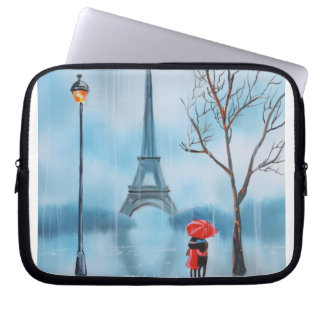 Couple at the Eiffel Tower Paris painting Laptop Sleeve