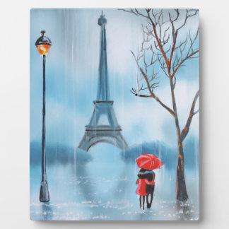 Couple at the Eiffel Tower Paris painting Plaque