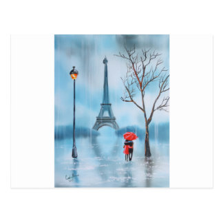 Couple at the Eiffel Tower Paris painting Postcard