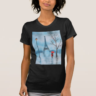 Couple at the Eiffel Tower Paris painting T-Shirt