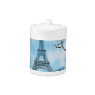 Couple at the Eiffel Tower Paris painting Teapot