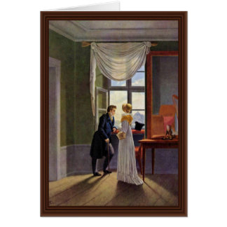 Couple At The Window By Kersting Georg Friedrich Card