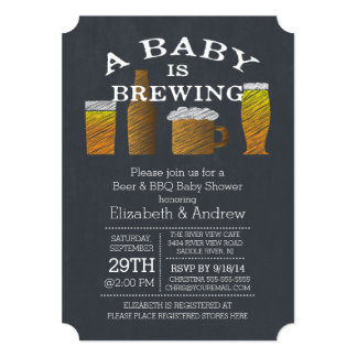 Couple Baby Brewing Barbecue Baby Shower Card