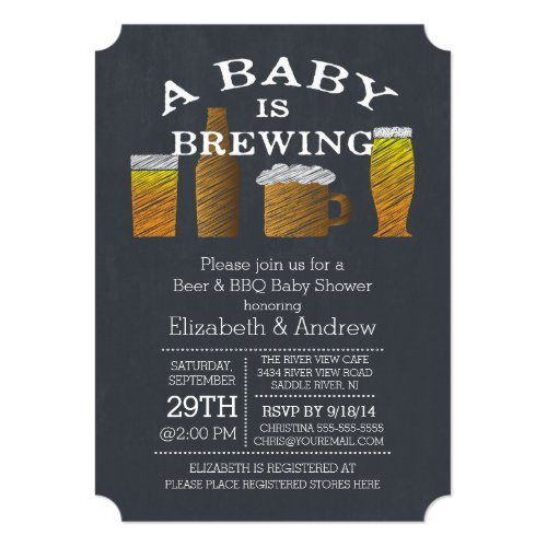 Couple Baby Brewing Barbecue Baby Shower Invitation