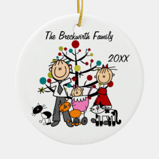Couple, Baby Girl, Three Cats Holiday Ornament