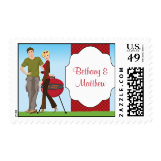 Couple BBQ Wedding Shower Postage