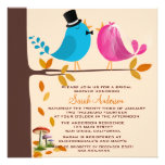 Couple birds on branch | Fall Bridal Shower Personalized Announcement