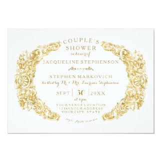Couple Bridal Shower Engraved Floral Acanthus Leaf Card