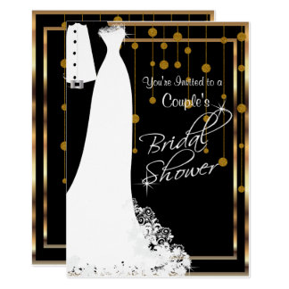 Couple Bridal Shower in Black & Gold Card