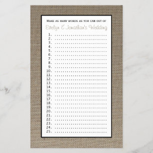 couple bridal wedding shower games burlap