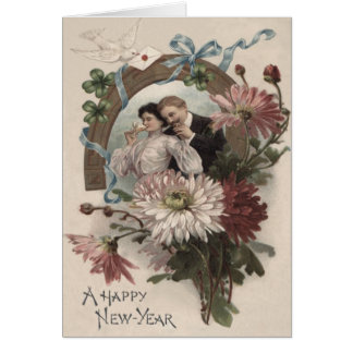 Couple Champagne Daisy Dove Four Leaf Clover Card