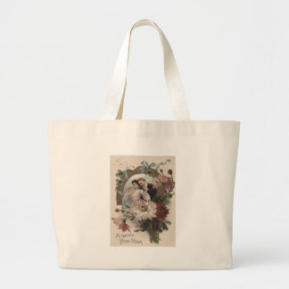 Couple Champagne Daisy Dove Four Leaf Clover Large Tote Bag