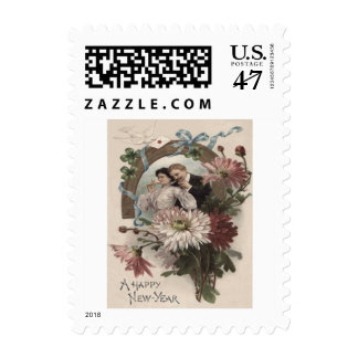 Couple Champagne Daisy Dove Four Leaf Clover Postage