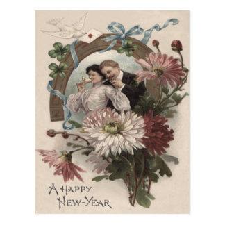 Couple Champagne Daisy Dove Four Leaf Clover Postcard