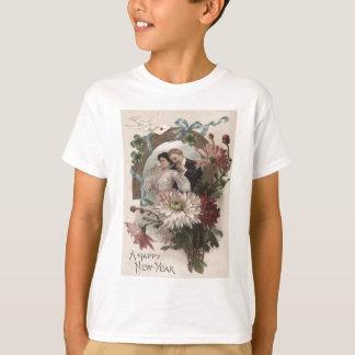 Couple Champagne Daisy Dove Four Leaf Clover T-Shirt