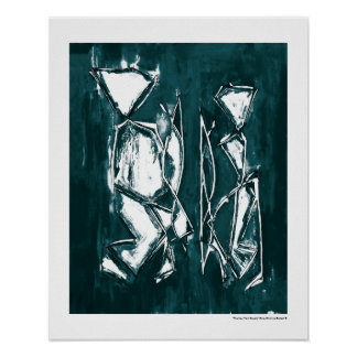Couple Contemporary Abstract Art MC Belkadi 16x20 Poster