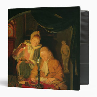 Couple counting money by candlelight, 1779 3 ring binder