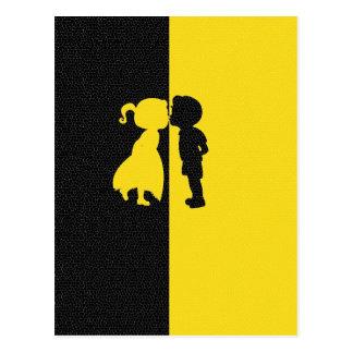 Couple Cute Kiss Love Photo Graphic Design Postcard