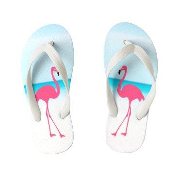Beach Themed Couple cute pink flamingos on the beach kid's flip flops