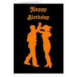 Couple Dance Spin Dancing Silhouette Greeting Card