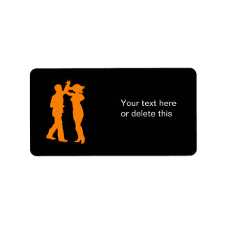 Couple Dance Spin Dancing Silhouette Label