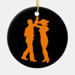 Couple Dance Spin Dancing Silhouette Christmas Ornament