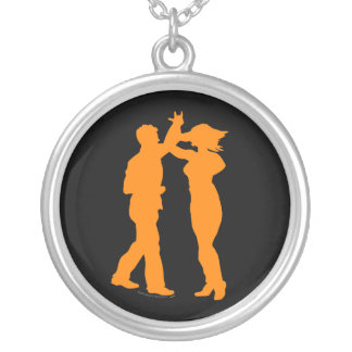 Couple Dance Spin Dancing Silhouette Silver Plated Necklace